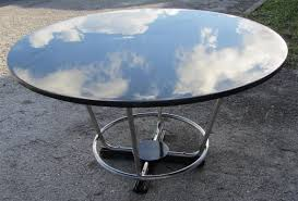 oval dining table art deco: art deco round black lacquer and chromed steel dining table