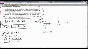 How To Make A Sign Chart Alg 2 Solving Quadratic Inequality Using Sign Chart Section 4 9