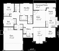 one level house plan 3 bedroom 2 bath 2 car garage 55 ft