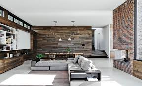 cover brick wall with wood. Perfect Cover The Large Living Room Is Bordered By Rustic Wood Walls A Brick Fireplace  And Intended Cover Brick Wall With Wood