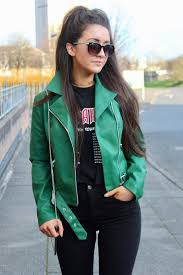 aholic how to style a green leather jacket