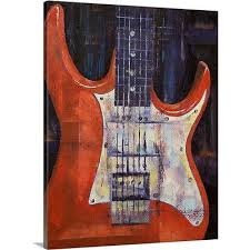 canvas on demand electric guitar by michael creese painting print on canvas size  on guitar canvas wall art red with canvas on demand electric guitar by michael creese painting print on