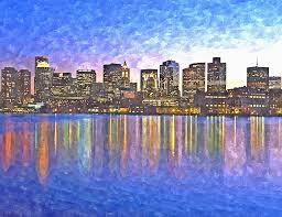boston painting boston skyline by night by rachel niedermayer