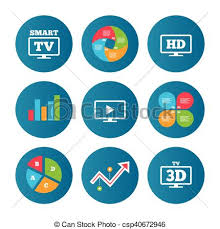 High Definition Resolution Chart Smart Tv Mode Icon 3d Television Symbol