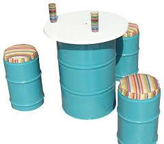 drum furniture. Drum Barrel Reclaimed Metal Bistro Set Furniture