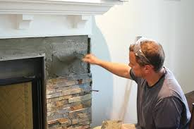 stone tile fireplace surround our fireplace installing the slate face tile the mommy ledger stone tile