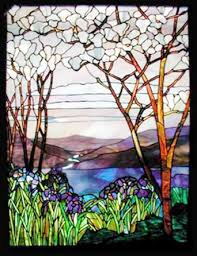 magnolias and irises stained glass reion of tiffany memorial window