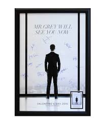 unbranded shades of grey cast signed movie poster in framed  unbranded 50 shades of grey cast signed movie poster in framed case