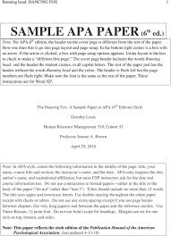 Apa 6 Sample Paper The Dancing Fox A Sample Paper In Apa 6 Th Edition Style