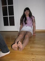 Teen legs in hose