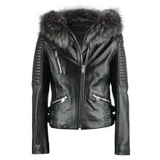 r paris black leather fur trim biker jacket