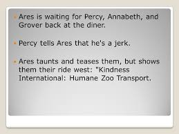 ares is waiting for percy annabeth and grover back at the diner