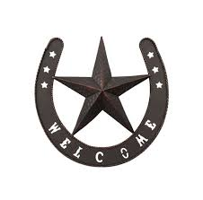 lucky horseshoe metal star welcome sign