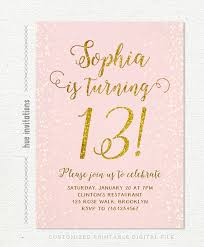 13th Birthday Invitation For Girl Pink Gold Teen Birthday Party