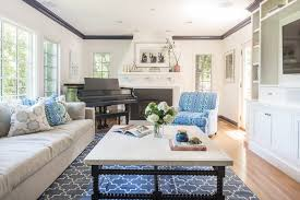 san francisco blue and white chevron rug living room transitional with slipcovered sofas jazz living room
