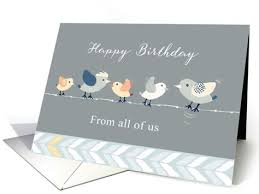Happy Birthday Business Card Happy Birthday From All Of Us Business Card Birds On A