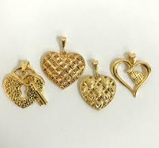 21k gold heart pendants variety