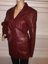 details about style co womens red leather jacket size m medium blazer biker motorcycle riding