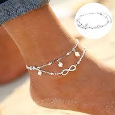 ženy Kotník Náramek 925 Sterling Silver Anklet Nožní řetězec Boho Beach Korálek At Airyclub
