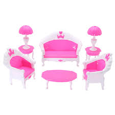 Barbie dollhouse furniture sets Toy Barbie Meigar 6pcs Barbie Dollhouse Furniture Living Room Parlour Sofa Chair Set Toys For Barbie Doll Pink Walmartcom Walmart Meigar 6pcs Barbie Dollhouse Furniture Living Room Parlour Sofa