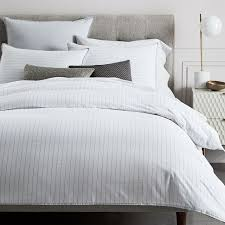 organic washed cotton percale stripe