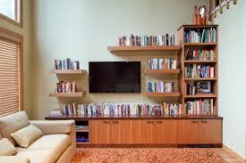 media center with bookshelves.  Bookshelves Wood Entertainment Center With Floating Shelves In Media With Bookshelves C