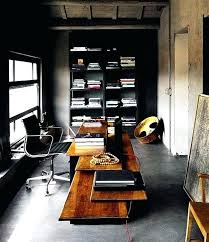 office man cave. Man Cave Office Designs Black Walls Contrasted With Good Lighting In Your Exposed Cement .