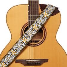 product details of amumu woodstock jacquard cotton guitar straps with leather end for folk acoustic electric guitar 89 156cm length 5cm width s110