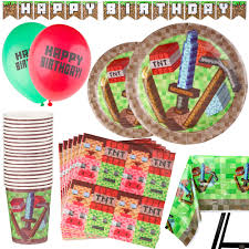 Nostalgia Dbf15wt Innova Deluxe Lighted Beverage Party Fountain 92 Piece Pixel Party Supplies Set Including Banner Balloons Plates Cups Napkins And Tablecloth Mining Theme Serves 20