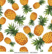 Pineapple Pattern Adorable Seamless Pineapple Pattern On White Background Stock Vector Royalty