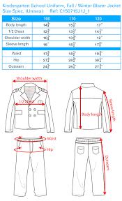 Chef Jacket Size Chart Kindergarten Uniform Size Chart