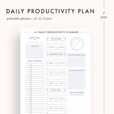 Day Planner Hourly Daily Planner Productivity Planner Daily Goals Daily Etsy
