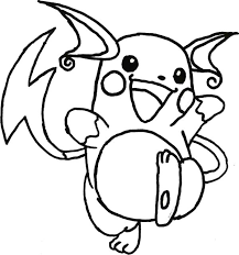 Pokemon Raichu Coloring Pages Getcoloringpagescom