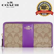 COACH F54630 Accordion Zip Wallet in Signature Coated Canvas with Leather  Stripe  Gold Khaki