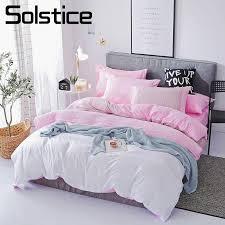 solstice home textile pink white stripe duvet cover pillowcase flat sheet girl teen woman bedding linen set king full bedclothes grey comforter sets queen