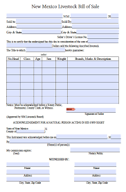 bill of sale free new mexico livestock bill of sale form pdf word doc
