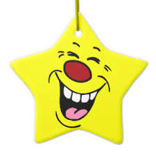 laughing smiley face grumpey ceramic ornament