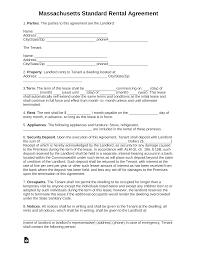 Template Lease Free Massachusetts Standard Residential Lease Agreement