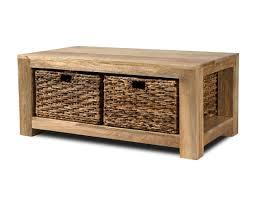 dakota light mango large coffee table with baskets 1