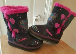 sketchers twinkle toe boots. skechers twinkle toes boots toddler girls sized 7 black hot pinks hearts lights sketchers toe e