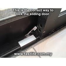 sliding glass door stopper lock on sliding din rail track