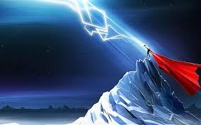wallpaper thor lightning mountains