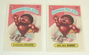 1985 Garbage Pail Kids card #59a Clogged DUANE and #59b Bye Bye BOBBY | eBay