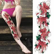 акварельный цветок лотоса временные татуировки наклейки листья женщины полная