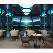 Modern Wall Papers Stickers Spaceship Photo Wallpaper Kids Room