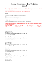 class 9 polynomial 2 coordinate geometry linear equation in two variables