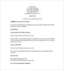 Sample Golf Caddie Supervisor Resume
