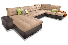 Sofa Couch Premium Leder Wohnlandschaft Portofino Braun