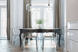 lucite dining table hip in black look awesome with transpa chairs and two glass pendant lights