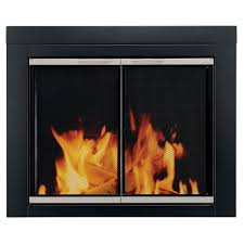 pleasant hearth alsip small glass fireplace doors